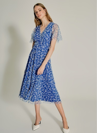 NGSTYLE Çiçek Desenli Tül Elbise Lacivert